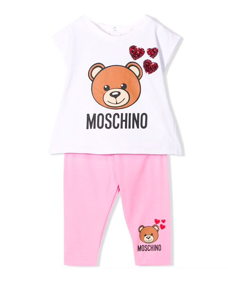 00a292b6a5151 MOSCHINO MOSCHINO BABY GIRLS TOP & LEGGING SET - Designer Kids Wear
