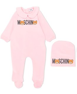MOSCHINO BABY GIRLS ONESIE & HAT SET
