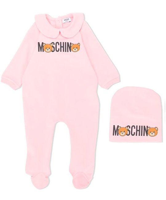 MOSCHINO MOSCHINO BABY GIRLS ONESIE & HAT SET