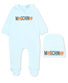 MOSCHINO BABY BOYS ONESIE & HAT SET