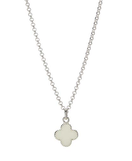 MOLLY BROWN LONDON WHITE ENAMEL CLOVER NECKLACE
