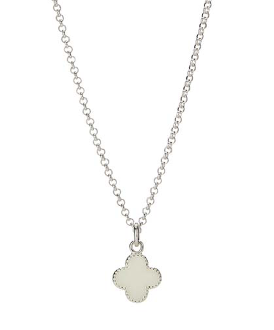 MOLLY BROWN LONDON MOLLY BROWN LONDON WHITE ENAMEL CLOVER NECKLACE