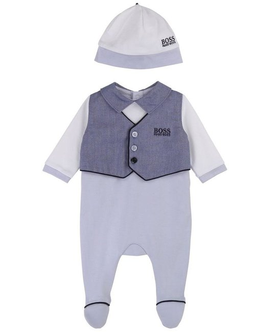 BOSS BOSS BABY BOYS ONESIE & HAT