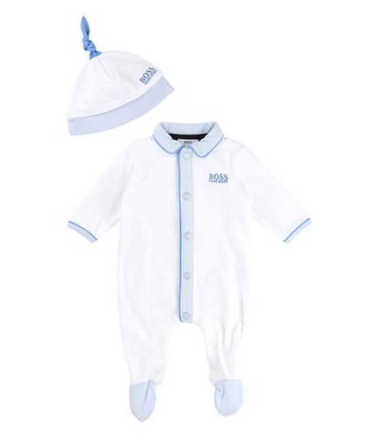 BOSS BOSS BABY BOYS ONESIE & HAT SET