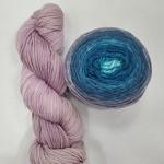 Brioche Cable Scarf Kit Lady Grey/Seamist