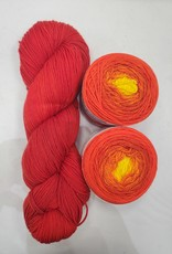 Brioche Cable Scarf Kit Summer Solstice/Blood Orange