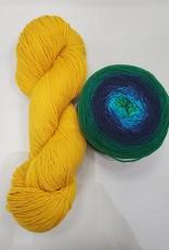 Brioche Cable Scarf Kit Paradise Bay/Saffron