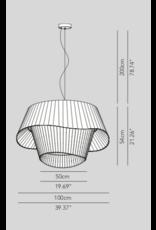 Cocò D100 Pendant Pleated fabric LED 29.3W 2700K 3900lm  Triac Dim