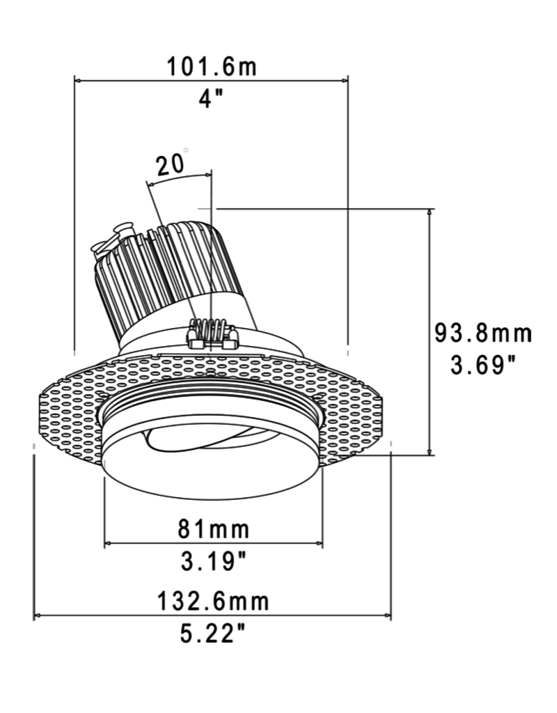 Zaniboni Stella 3 AO trimless adjustable to 20° for wood ceiling installation