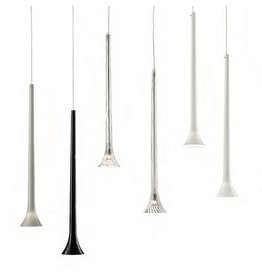 Vistosi Chrome and Glass suspension, glass color comes in White, Grey, Black and Clear Crystal