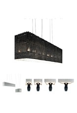 LucePlan Plisse Suspension Black 7 x 40w max B10 Candelabra Base