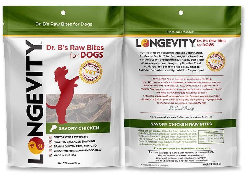 Dr. B's Longevity Dr. B's Longevity Raw Bites Treats - Chicken 4 oz