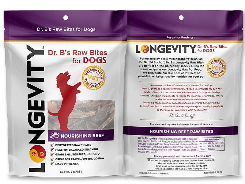 Dr. B's Longevity Dr. B's Longevity Raw Bites Treats - Beef 4 oz