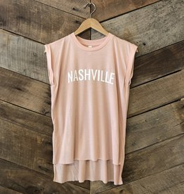 Peach Nashville Roll Sleeve Tee