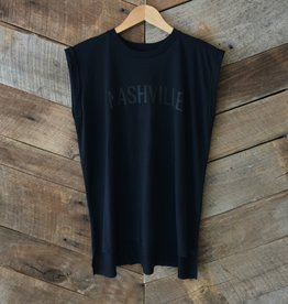 Black on Black Nashville Roll Sleeve Tee
