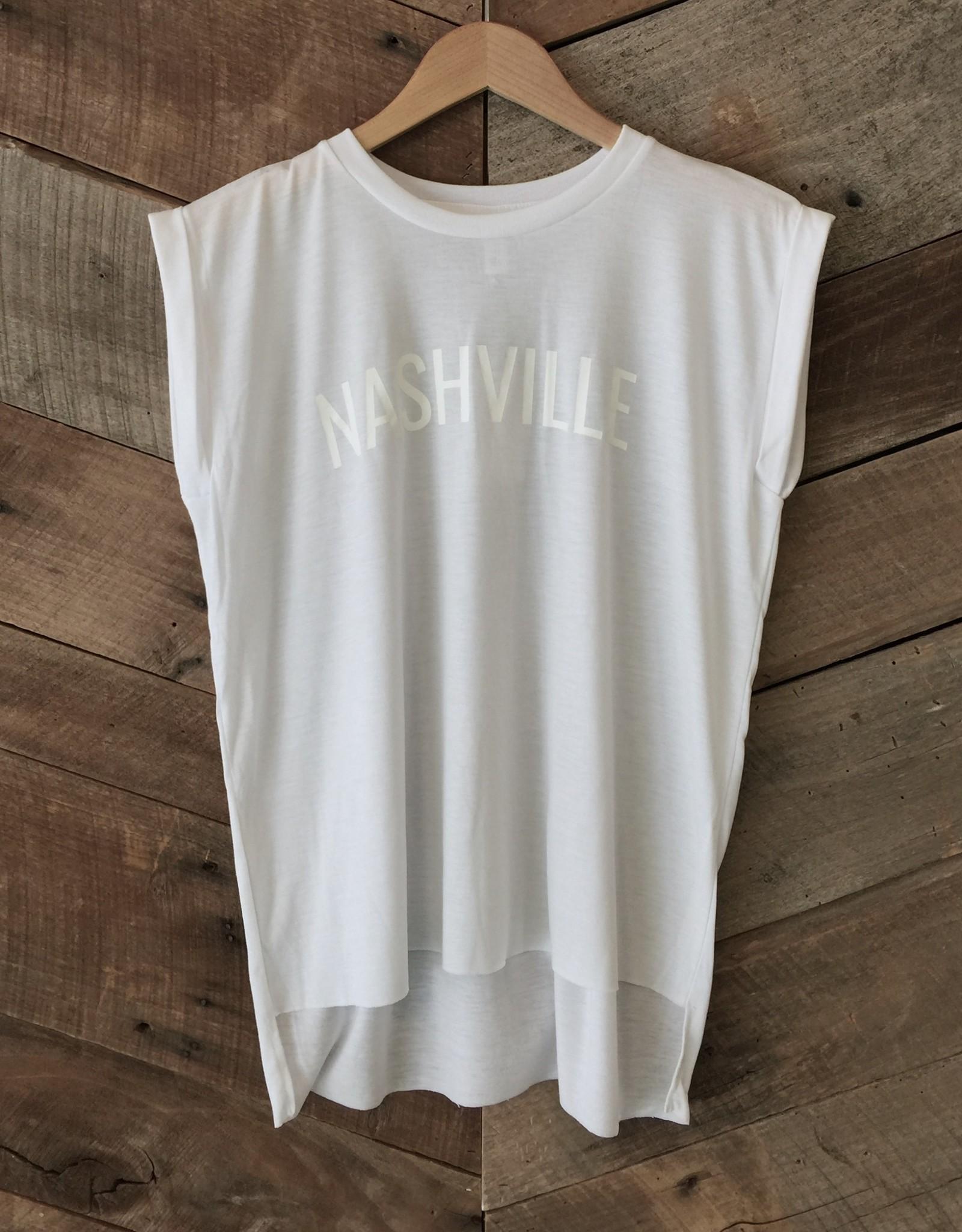 White on White Nashville Roll Sleeve Tee