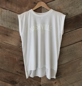 White on White Nashville Roll Sleeve Tee
