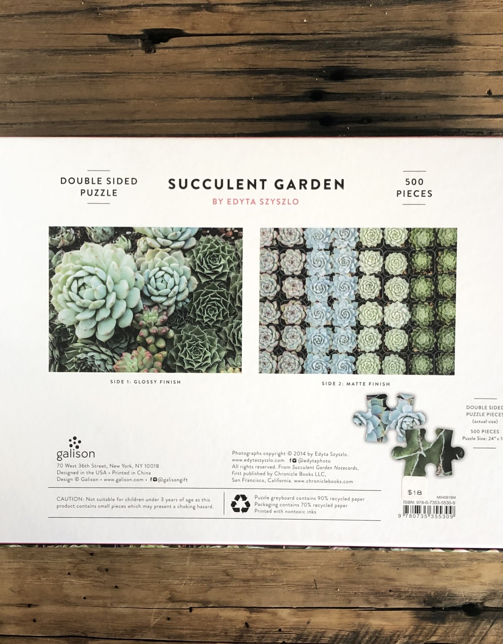 Succulent Garden 2 Sided Puzzle