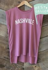 Mauve Nashville Roll Sleeve Tee