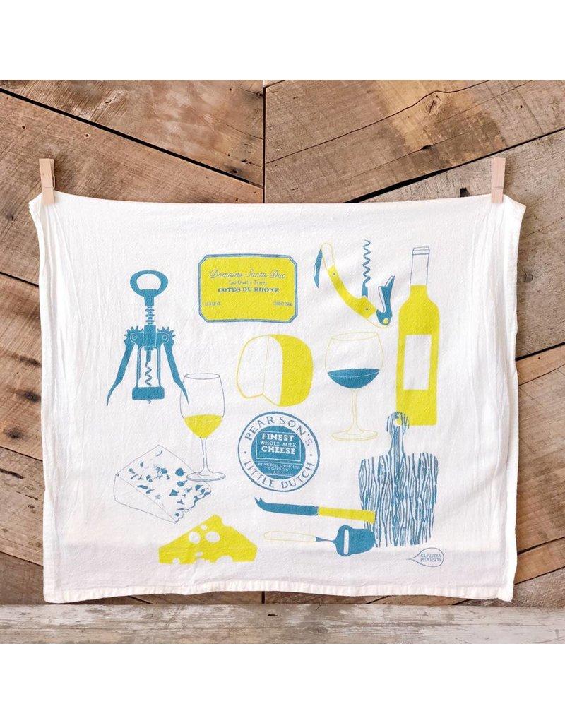Wine & Cheese Tea Towel