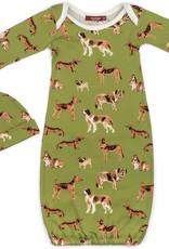 Milkbarn Gown & Hat Set-Green Dog
