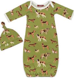 Milkbarn Gown & Hat Set Green Dog