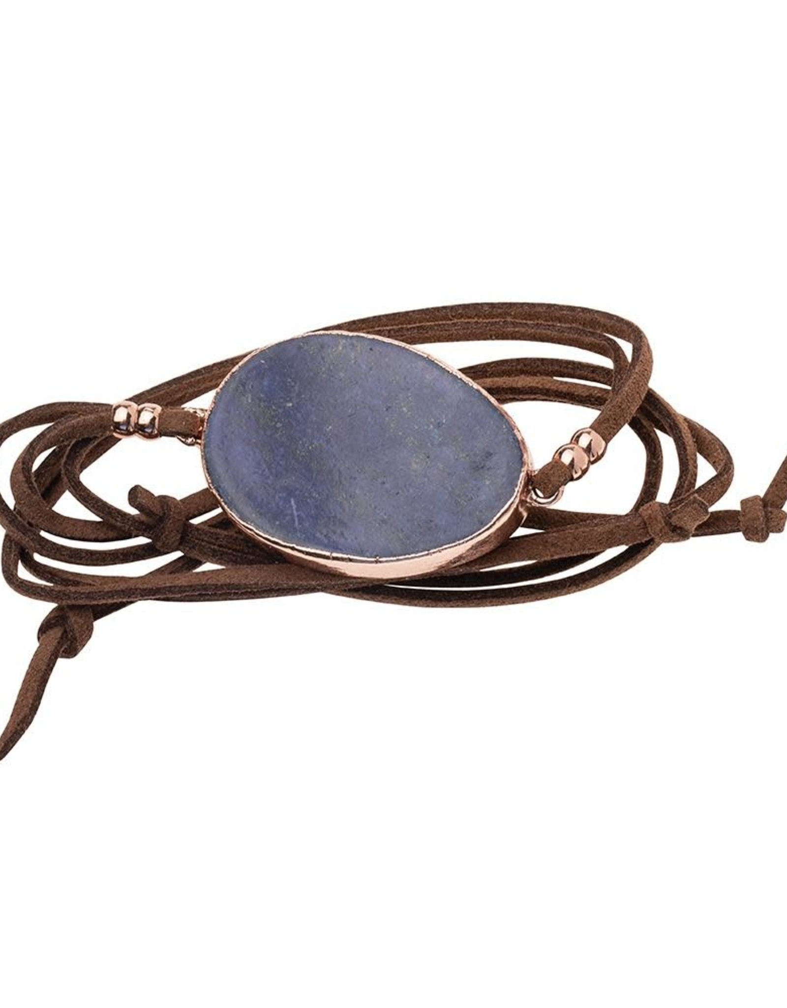 Scout Suede and Stone Bracelet- Lapis/Gold