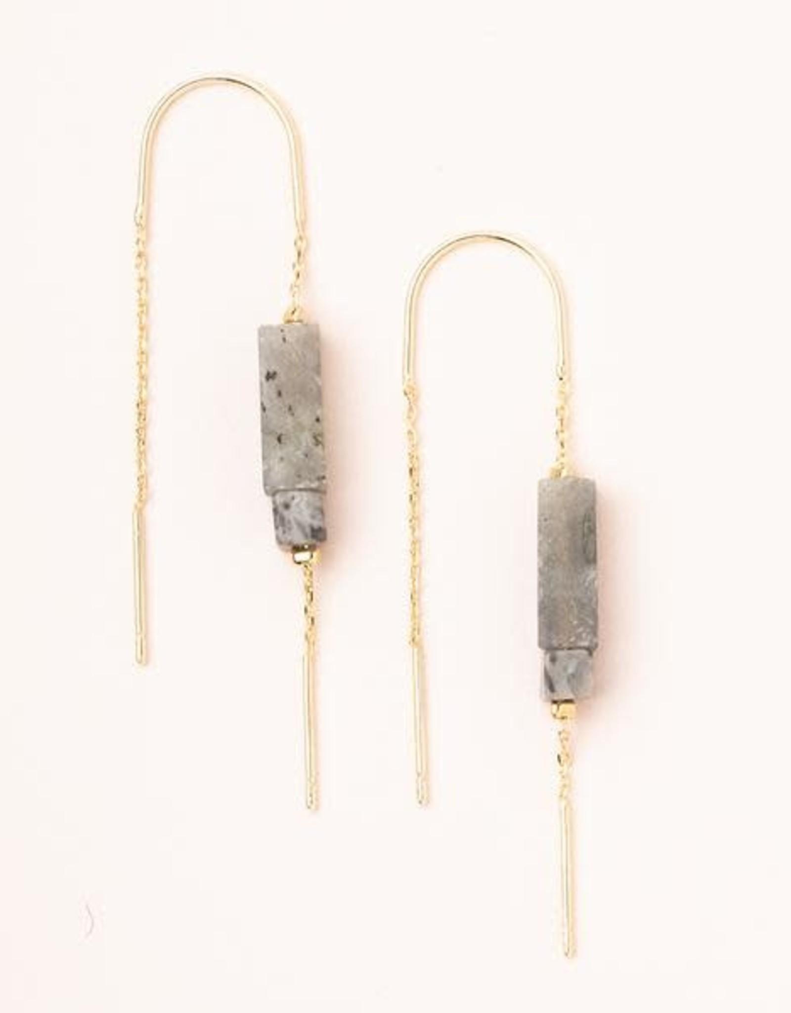 Scout Rect. Stone Earrings-Laboradorite