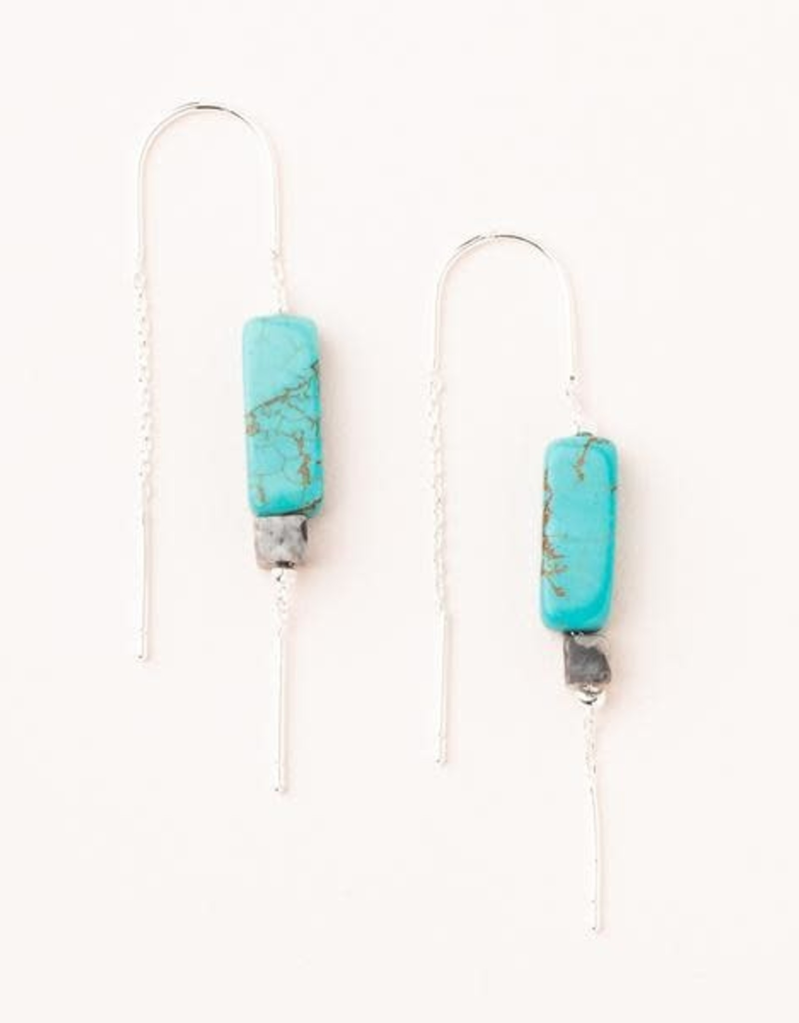 Scout Rect. Stone Earrings-Turquoise
