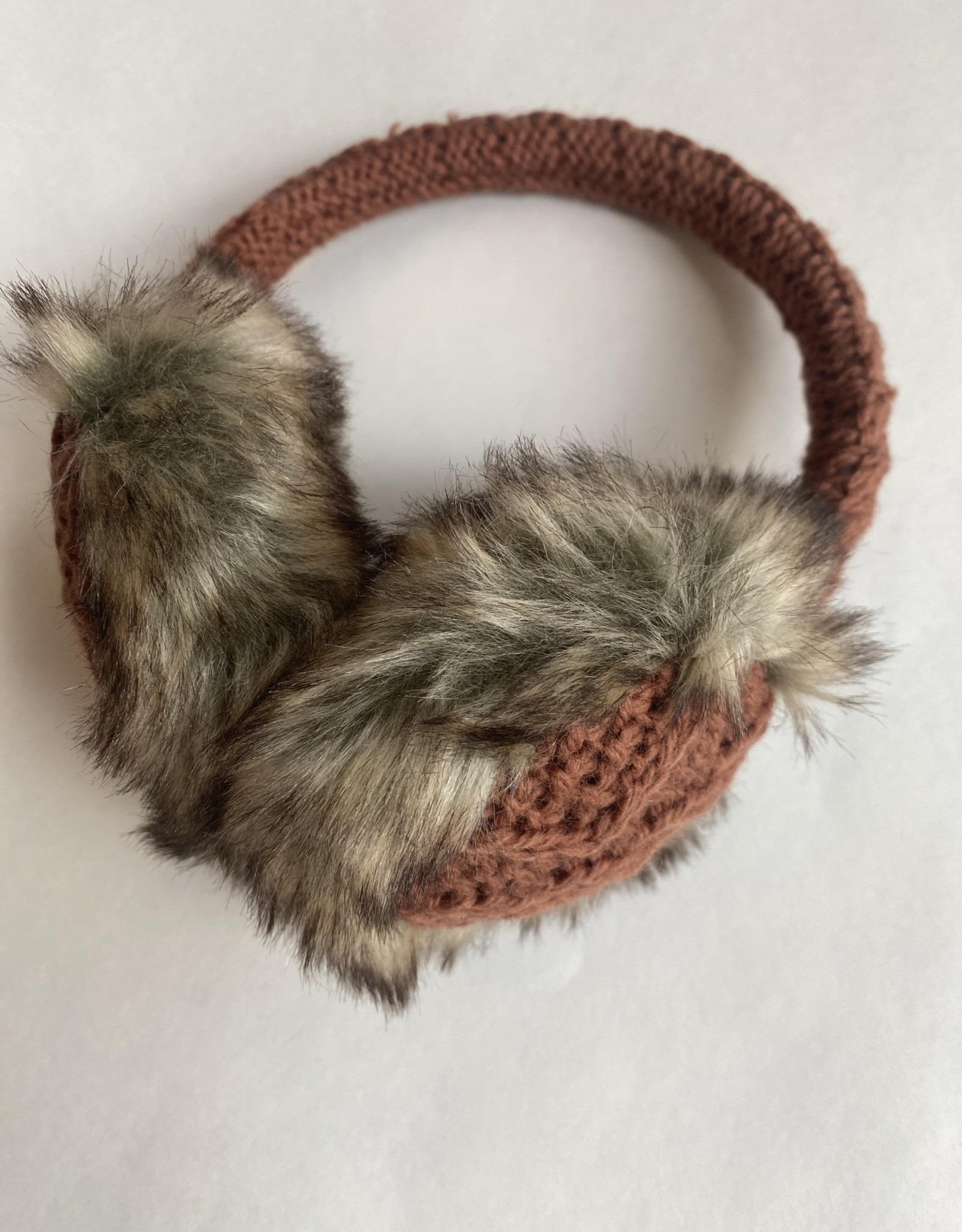 Nirvanna Cable Knit Adjustable Earmuffs-Rust