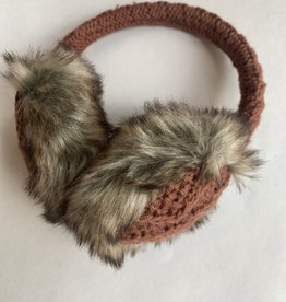 Nirvanna Cable Knit Adjustable Earmuffs-Rust