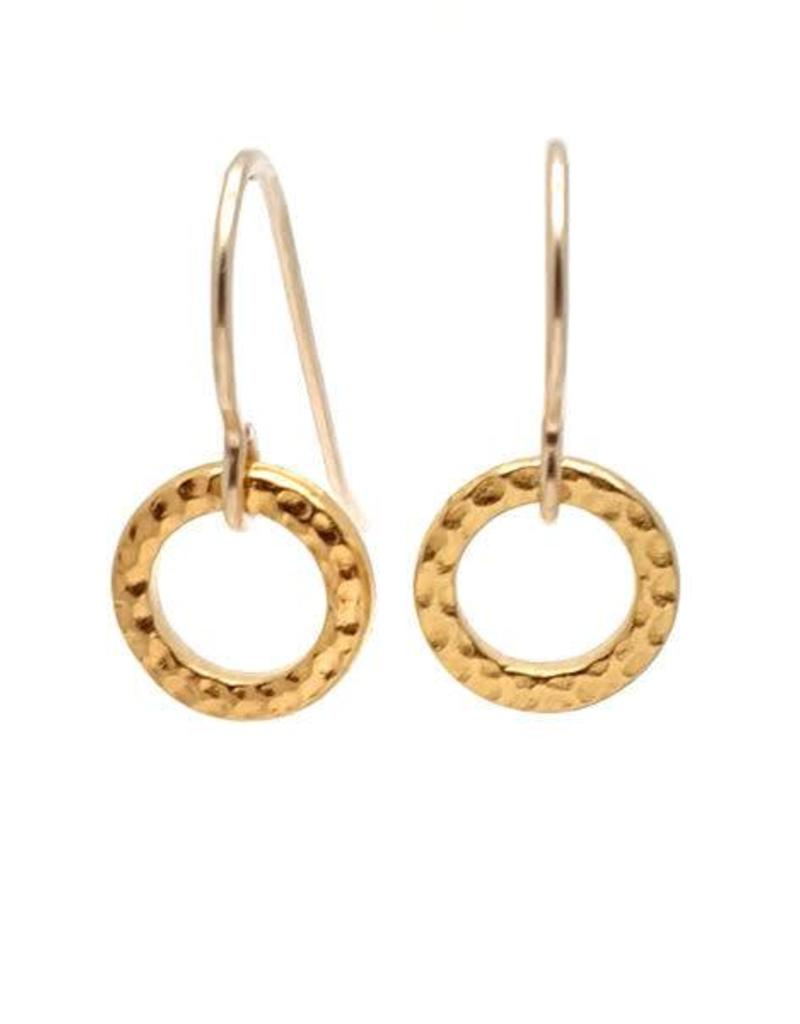 Gold Ridged Circle Earrings