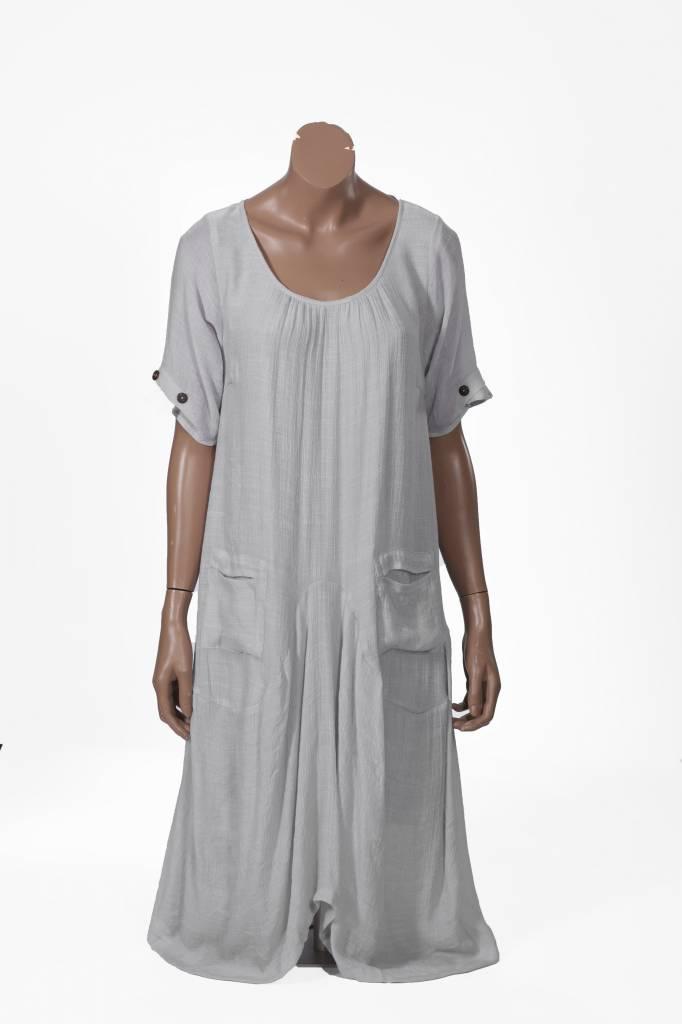 Robe Mi Longue Manches Courtes 3 Boutons En Bambou Coton Pa Passions D Ailleurs Boutique