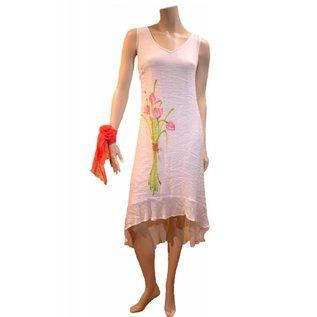 Passions d'ailleurs D11 Robe Asymétrique, Peinte Devant à la Main avec Fleur de Lotus