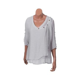 Passions d'ailleurs S06g Short Shirt V Neck with 5 Buttons, 3/4 Sleeves Split Over (2 Buttons)