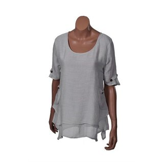 Passions d'ailleurs S11d Tunic A Line, 2 Pockets, Short Sleeves (3 Buttons)