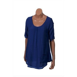 Passions d'ailleurs S13d Tunic  (Loose at Waist), Round Neck, Short Sleeves