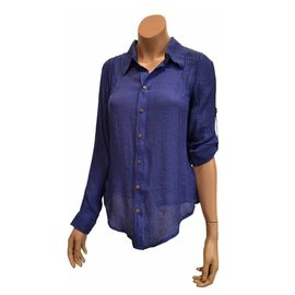 Passions d'ailleurs S22e Shirt with Collar, Long Sleeves