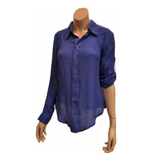 Passions d'ailleurs S22e Mid-Long Shirt Shirt with Collar, Long 'safari' Sleeves