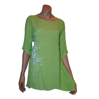 S05c Tunic with Hand Painting in Front, 3/4 Plain Sleeves