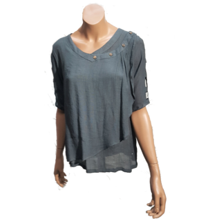 Passions d'ailleurs S06b Short Shirt V Neck with Buttons, 3/4 Sleeves with Holes