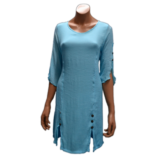 Passions d'ailleurs D16g Staight Dress,  Princess cut, 3/4 Sleeves split over (2 Buttons)