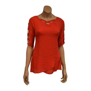 Passions d'ailleurs S09b Tunic, V Neck  Crossed in front, 3/4 Sleeves with Holes