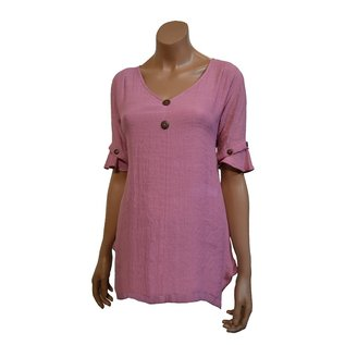 Passions d'ailleurs S19d  Tunic (Loose at waist), Short  Sleeves with Buttons
