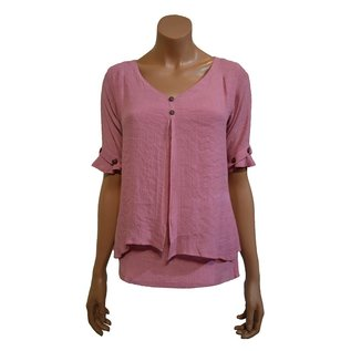 S21d Mid-Long Shirt With 2 Hanging Layers in Front, short Sleeves With Buttons