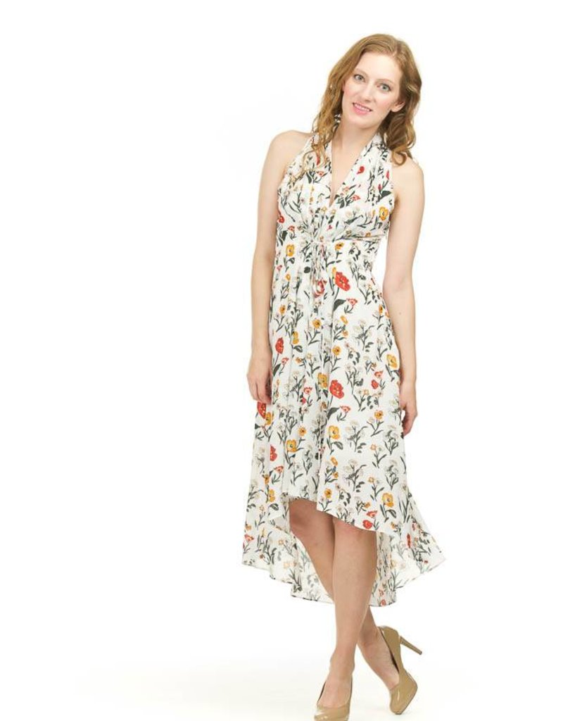 Papillon Pleated Front Floral Print High - Low
