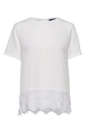 French Connection Crepe Light Solid Jersey Lace Trim