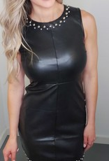 RD Style Black Leather Studded Dress