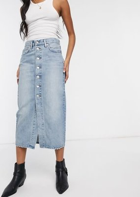 levis Midi Demin Skirt Blue Cell