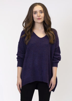 Lyla & Lux Issy Vneck Sweater with Ribbed Detail